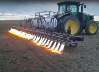 Flamethrowing tractor