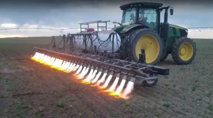 Flamethrowing tractor
